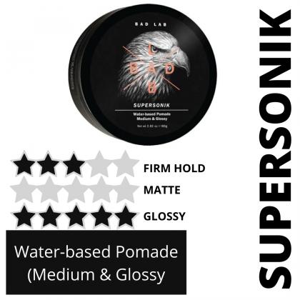 Bad Lab Supersonik Water-based Pomade Medium & Glossy 80g Halal