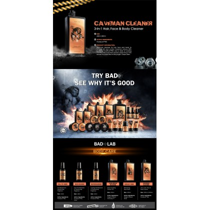 BadLab Caveman Cleaner 3in1 Hair Face Body Cleaner With RedSnow & FluidiPure™8G 400ml Halal