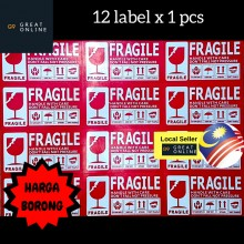 Fragile Sticker Label Handle with care courier Poslaju sticker