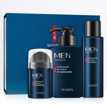 VENZEN 3pcs Men Refreshing Skincare Set Cleanser Toner Cream (D43)