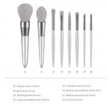 8Pcs Makeup Brush Set Silver Makeup Brushes Soft Grey Synthetic Brush Eyeshadow Eyebrow Lip Brush