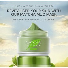 LAIKOU Matcha Mask Mud Facial Oil Control Cleansing Moisturizing Pore Cleansing Mud Face Mask Deep Clean Skin Care 85g