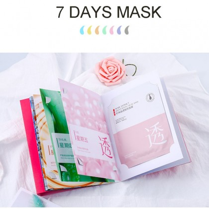 VENZEN 7 Days Facial Mask Oil Control Anti-Aging Shrink Pores Skin Care Face Mask  Gift set  7pcs x30g