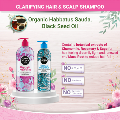 G9 Good Virtues Co Clarifying Hair & Scalp Shampoo For Oily Hair 300ml Halal Women Hair Wash Oily Sweat Hair Care