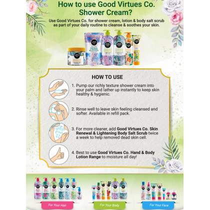 Good Virtues Co GVC Anti-Bacterial & Hydrating Shower Cream Halal Bath Gel Moisturize Smooth Skin 300ml