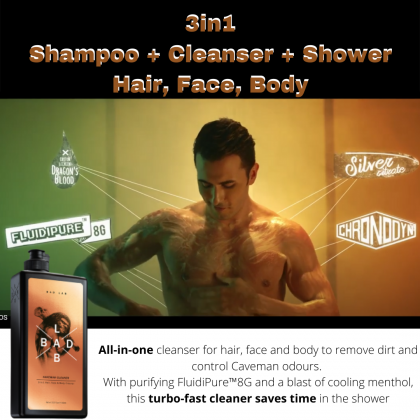 Bad Lab Caveman Cleaner 3-In-1 Hair Face & Body Cleaner 400ml Halal Men Turbo Boost Fast Shampoo Shower Cleanser